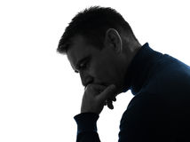 Man serious thinking pensive silhouette portrait Royalty Free Stock Image