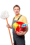 Man servant house cleaning portrait Stock Images