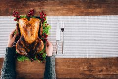 Man serving turkey for thanksgiving day Stock Photo