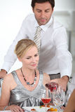 A man serving wine Stock Image