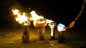 Man sets fire to halloween pumpkins on tree log in darkness, field, mist, dusk. Scary funny angry big orange pumpkin. Exhales fire, flame and smoke, breathes stock video