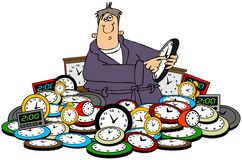 Man setting time on clocks. This illustration depicts a man setting a pile of clocks for daylight savings time Royalty Free Stock Photos