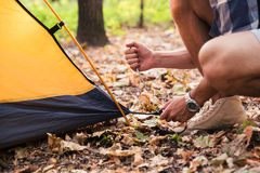 Man setting up a tent Royalty Free Stock Photo