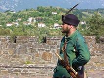 Man in a Seventeenth Century Venetian Military Uniform at a Hist. GORIZIA, Italy - May 6, 2018: Man wearing a seventeenth century venetian military uniform at stock image