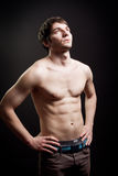 Man with body and muscular abdomen. Man with body and muscular abs royalty free stock photo