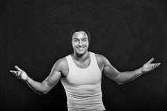 Man or sexy happy guy with muscular hands Stock Photos