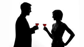 Man shadow toasting with wine glass, lovers clinking celebrating anniversary. Stock footage stock video footage