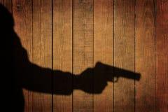 Man in the Shadows with handgun, XXXL Royalty Free Stock Photography