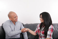 Man shaking hands after a deal with a cus Stock Photos