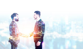 Man shaking hands multiexposure Stock Images