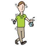 Man shaking nervously taking pills medical problem Stock Images
