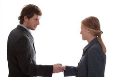 Man shaking woman hand Stock Image