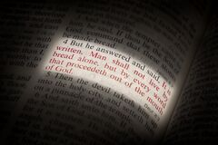 Man Shall Not Live on Bread Alone Bible Scripture Illuminated on Page