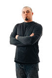 Man Shaved Head Fit crossed arms angle Royalty Free Stock Image
