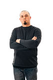 Man Shaved Head Fit crossed arms Stock Image