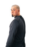 Man Shaved Head Fit looking back Royalty Free Stock Photo