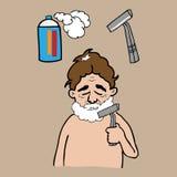 Man shaves beard Stock Photography