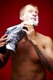 Man shaving Stock Photography