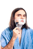 Man shaving after bath Stock Photo