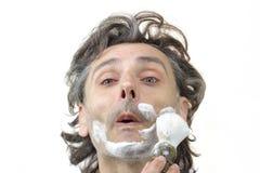 Man with shaving brush Royalty Free Stock Photos