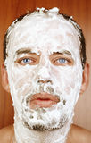 Man with shaving Cream on Face Stock Photos