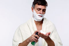 Man with shaving cream Stock Photos