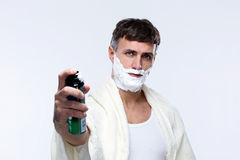 Man with shaving cream Stock Photography