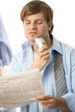 Man shaving with electric razor Royalty Free Stock Images
