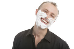 Man with shaving foam on face before shaving Royalty Free Stock Photo