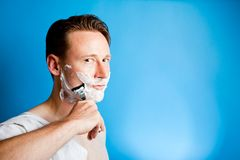 Shaving Man stock photo