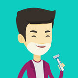 Man shaving his face vector illustration. Royalty Free Stock Photo