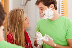 Man during shaving royalty free stock photos