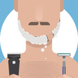 Man Shaving. With shaver and razor, Vector Illustration Stock Image