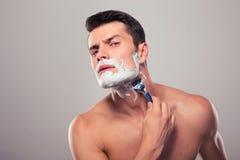 man shaving young Στοκ Φωτογραφία