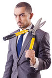 Man with shears in job Royalty Free Stock Photo