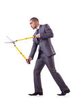 Man with shears in job Royalty Free Stock Image