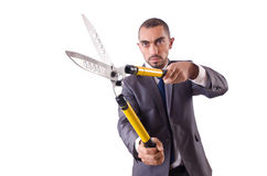 Man with shears in job Royalty Free Stock Photography
