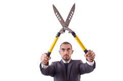 Man with shears Stock Images