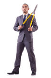 Man with shears in job cutting Stock Image