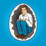 Man in shell metaphor pop art style vector. Man in egg shell metaphor pop art retro vector illustration. Comic book style imitation Stock Image