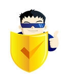 MAn with Shield protector Royalty Free Stock Photos
