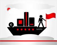 Man on ship. Man with flag on ship Stock Images