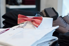 Man shirt with bow tie Royalty Free Stock Images