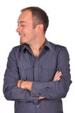 Man in a shirt cross hands on chest Stock Photography