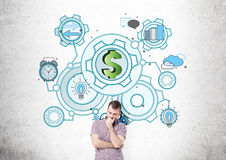 Man in shirt and dollar sketch Royalty Free Stock Photo