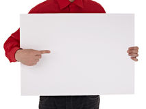 Man in shirt holding blank sign Royalty Free Stock Image