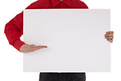 Man in shirt holding blank sign Royalty Free Stock Images