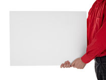 Man in shirt holding blank sign Royalty Free Stock Photo