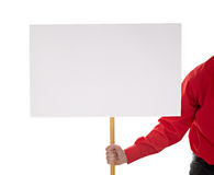 Man in shirt holding blank sign Stock Photography