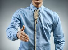 Man in shirt with knot around his neck, greeting someone. Close up. Business concept Royalty Free Stock Image